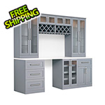 NewAge Home Bar 8-Piece Shaker Style Home Bar Cabinet System (Grey)