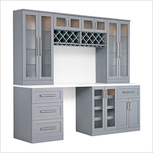 8-Piece Shaker Style Home Bar Cabinet System (Grey)