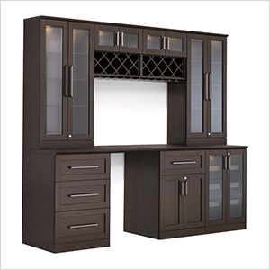 8-Piece Shaker Style Home Bar Cabinet System (Espresso)