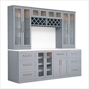 9-Piece Shaker Style Home Bar Cabinet System (Grey)