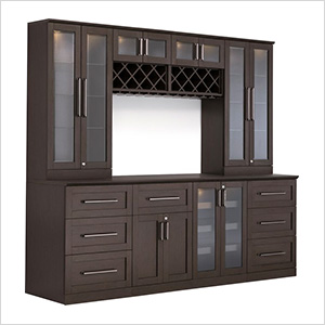 9-Piece Shaker Style Home Bar Cabinet System (Espresso)