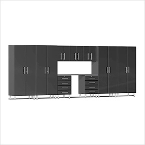10-Piece Cabinet Kit with Channeled Worktop in Midnight Black Metallic