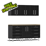Ulti-MATE Garage Cabinets 7-Piece Cabinet Kit with Bamboo Worktop in Midnight Black Metallic