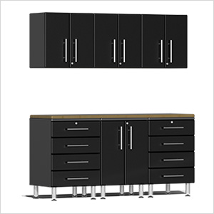 7-Piece Cabinet Kit with Bamboo Worktop in Midnight Black Metallic
