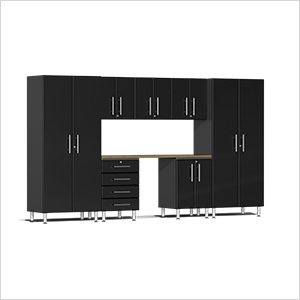 8-Piece Cabinet Kit with Bamboo Worktop in Midnight Black Metallic