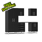 Ulti-MATE Garage Cabinets 6-Piece Cabinet Kit with Channeled Worktop in Midnight Black Metallic
