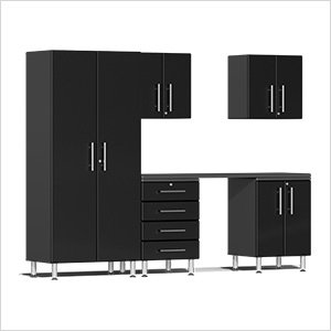 6-Piece Cabinet Kit with Channeled Worktop in Midnight Black Metallic