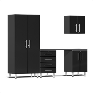 5-Piece Cabinet Kit with Channeled Worktop in Midnight Black Metallic