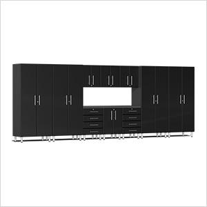 11-Piece Cabinet Kit with Channeled Worktop in Midnight Black Metallic