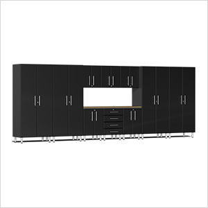 11-Piece Cabinet Kit with Bamboo Worktop in Midnight Black Metallic