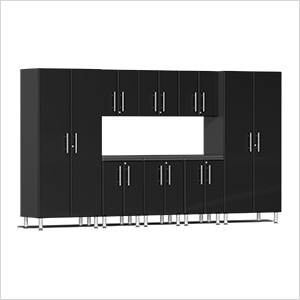 9-Piece Cabinet Kit with Channeled Worktop in Midnight Black Metallic