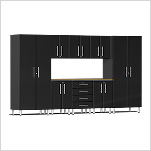 9-Piece Cabinet Kit with Bamboo Worktop in Midnight Black Metallic