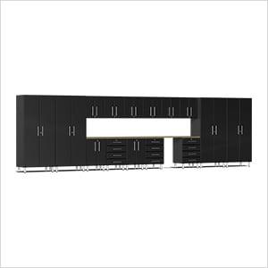 17-Piece Cabinet Kit with Bamboo Worktop in Midnight Black Metallic