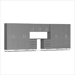 10-Piece Cabinet Kit with Channeled Worktop in Graphite Grey Metallic