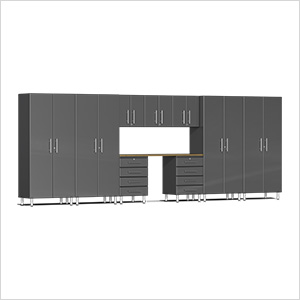 10-Piece Cabinet Kit with Bamboo Worktop in Graphite Grey Metallic