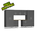 Ulti-MATE Garage 2.0 Series 8-Piece Cabinet Kit with Bamboo Worktop in Graphite Grey Metallic