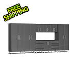 Ulti-MATE Garage Cabinets 10-Piece Cabinet Kit with Channeled Worktop in Graphite Grey Metallic