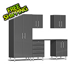Ulti-MATE Garage 2.0 Series 6-Piece Cabinet Kit with Channeled Worktop in Graphite Grey Metallic