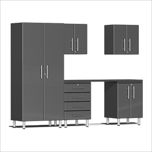6-Piece Cabinet Kit with Channeled Worktop in Graphite Grey Metallic