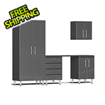 Ulti-MATE Garage 2.0 Series 5-Piece Cabinet Kit with Channeled Worktop in Graphite Grey Metallic