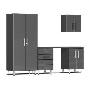 5-Piece Cabinet Kit with Channeled Worktop in Graphite Grey Metallic