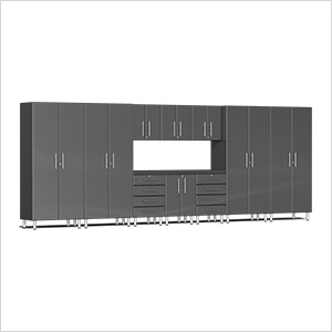 11-Piece Cabinet Kit with Channeled Worktop in Graphite Grey Metallic