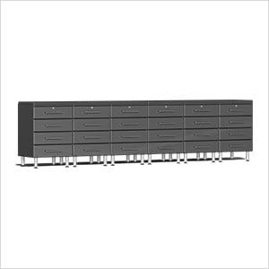 8-Piece Cabinet Kit with 2 Channeled Worktops in Graphite Grey Metallic