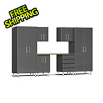 Ulti-MATE Garage 2.0 Series 7-Piece Cabinet Kit with Bamboo Worktop in Graphite Grey Metallic