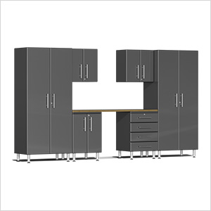 7-Piece Cabinet Kit with Bamboo Worktop in Graphite Grey Metallic