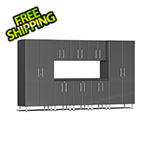 Ulti-MATE Garage Cabinets 9-Piece Cabinet Kit with Channeled Worktop in Graphite Grey Metallic
