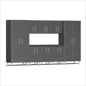 9-Piece Cabinet Kit with Channeled Worktop in Graphite Grey Metallic