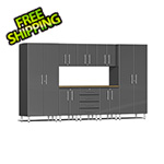 Ulti-MATE Garage 2.0 Series 9-Piece Cabinet Kit with Bamboo Worktop in Graphite Grey Metallic