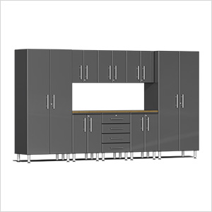 9-Piece Cabinet Kit with Bamboo Worktop in Graphite Grey Metallic
