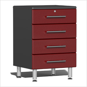 4-Drawer Base Garage Cabinet in Ruby Red Metallic