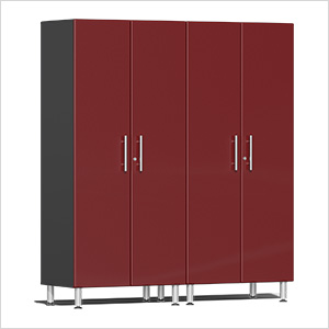 2-Piece Tall Garage Cabinet Kit in Ruby Red Metallic
