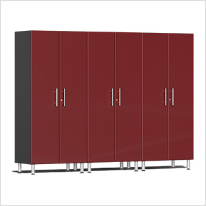 3-Piece Tall Garage Cabinet Kit in Ruby Red Metallic