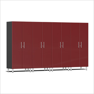 4-Piece Tall Garage Cabinet Kit in Ruby Red Metallic