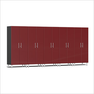 5-Piece Tall Garage Cabinet Kit in Ruby Red Metallic