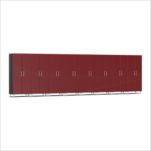 8-Piece Tall Garage Cabinet Kit in Ruby Red Metallic