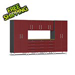Ulti-MATE Garage Cabinets 9-Piece Cabinet Kit with Bamboo Worktop in Ruby Red Metallic