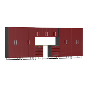 10-Piece Cabinet Kit with Bamboo Worktop in Ruby Red Metallic