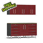 Ulti-MATE Garage Cabinets 7-Piece Cabinet Kit with Bamboo Worktop in Ruby Red Metallic