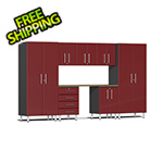 Ulti-MATE Garage 2.0 Series 8-Piece Cabinet Kit with Bamboo Worktop in Ruby Red Metallic