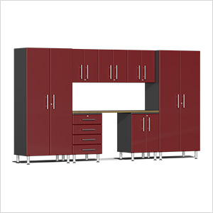 8-Piece Cabinet Kit with Bamboo Worktop in Ruby Red Metallic