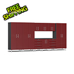 Ulti-MATE Garage Cabinets 10-Piece Cabinet Kit with Channeled Worktop in Ruby Red Metallic