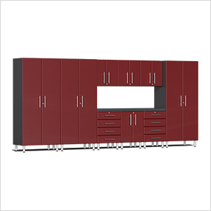 10-Piece Cabinet Kit with Channeled Worktop in Ruby Red Metallic