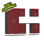Ulti-MATE Garage 2.0 Series 6-Piece Cabinet Kit with Channeled Worktop in Ruby Red Metallic