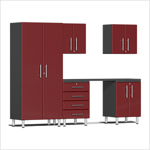 6-Piece Cabinet Kit with Channeled Worktop in Ruby Red Metallic