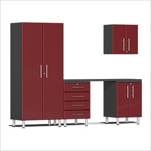5-Piece Cabinet Kit with Channeled Worktop in Ruby Red Metallic
