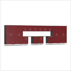 16-Piece Cabinet Kit with Bamboo Worktop in Ruby Red Metallic